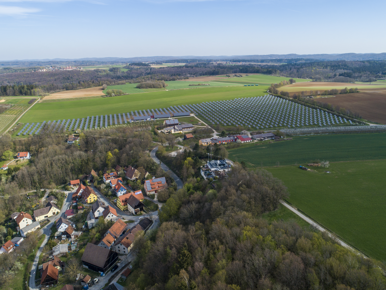 Solar Farm with Village