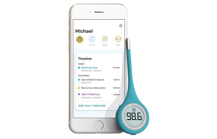 写真 : Kinsaが提供するスマート体温計とそれに対応したアプリ(Kinsaのプレスリリースから)