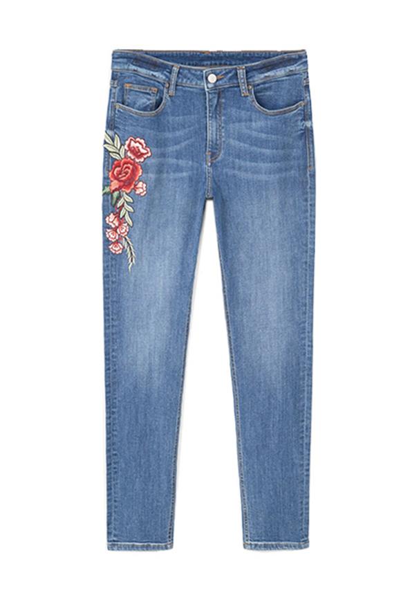 Super eng und mittelhoch geschnittene bestickte Jeans
