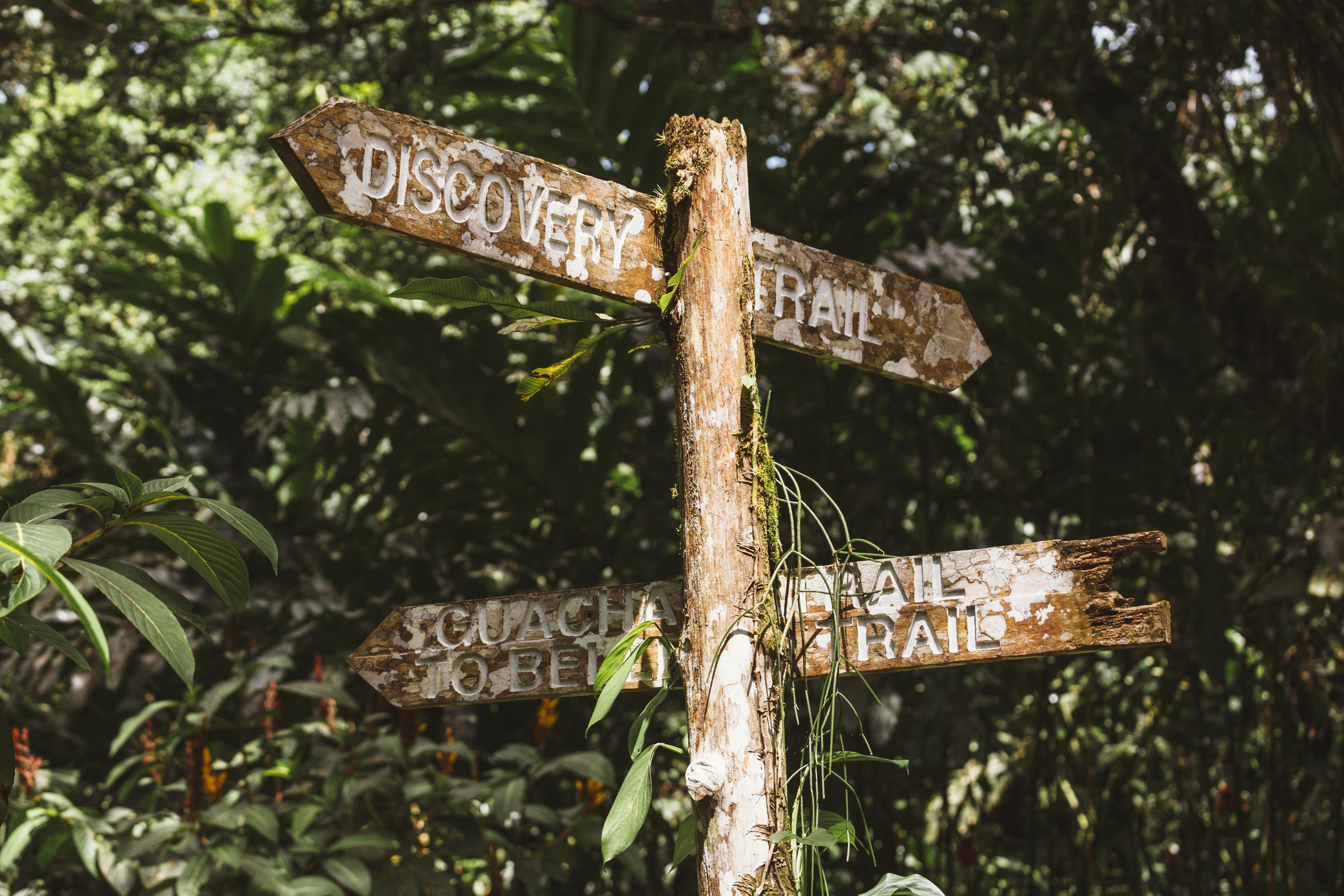 Trinidad, Arima Valley, Asa Wright Nature Center. Aging signpost at nature center.