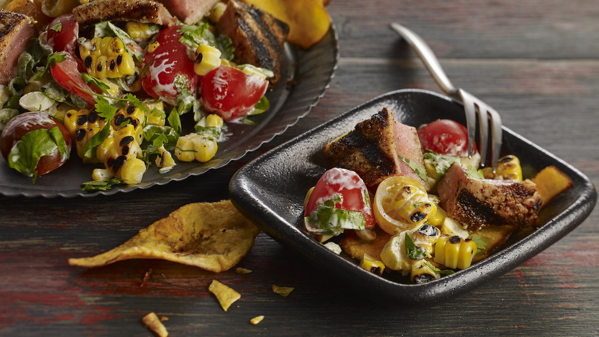 McCormick Grilled Tuna and Corn Poke with Lime Crema