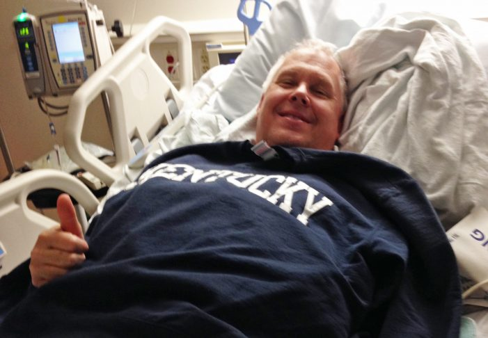 """Pictured: Ken Denison after his successful emergency procedure to help open his blocked arteries. Denison likes to call this day his """"second first birthday""""."""
