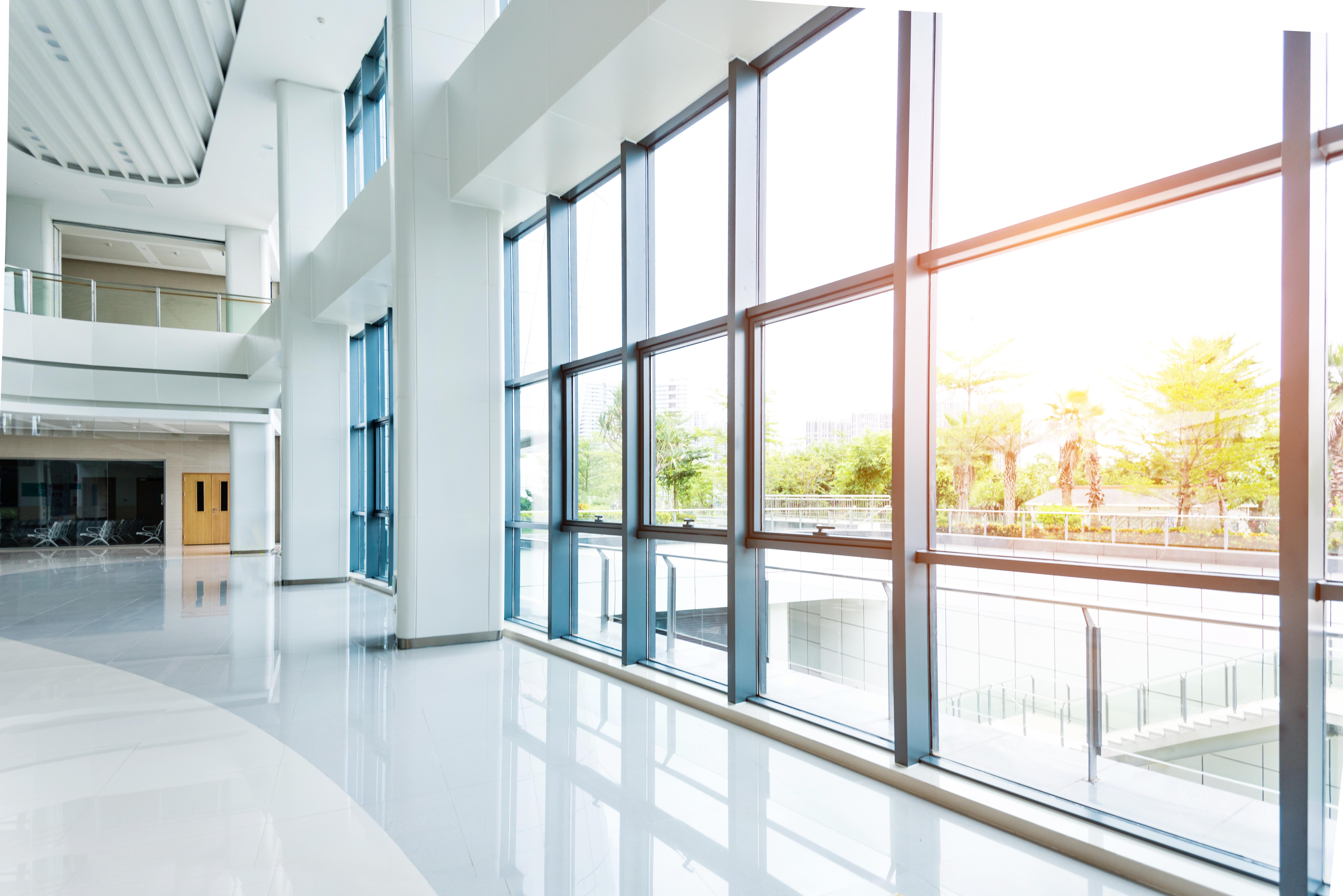 Empty lobby with glass window