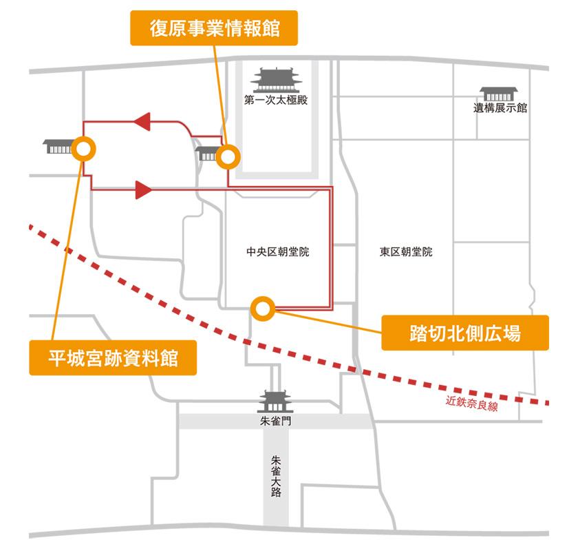 図 : 自動運転バスの回遊ルートと停留所