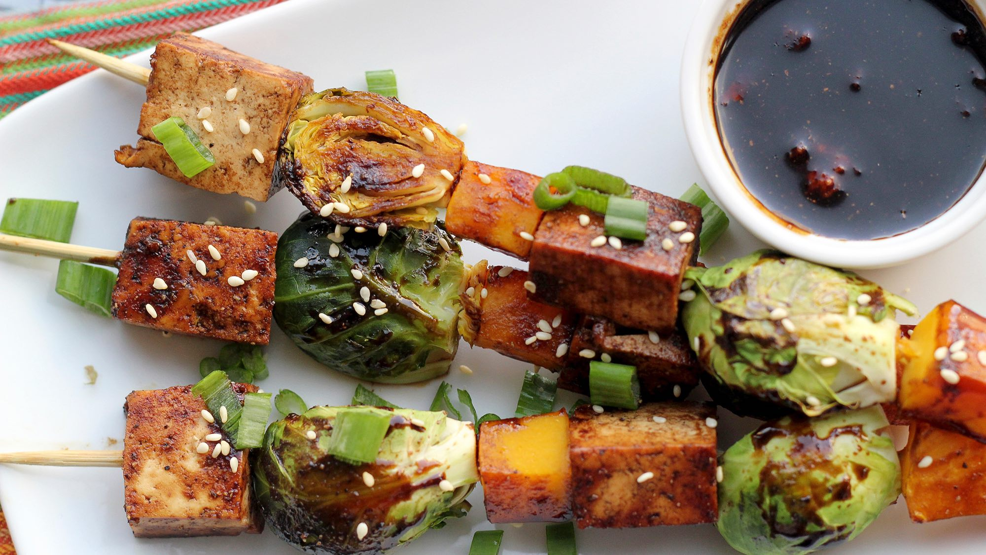 McCormick Tofu Butternut Squash and Brussels Sprout Skewers