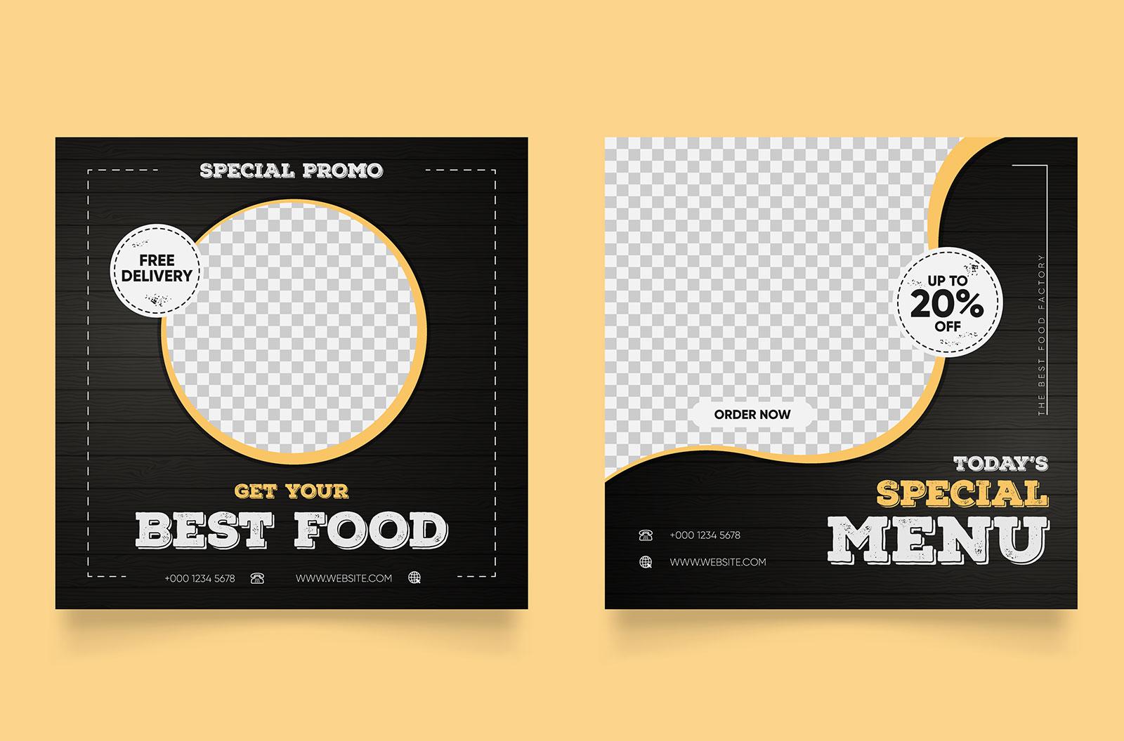 Social media post template for food promotion in simple banner frame stock illustration