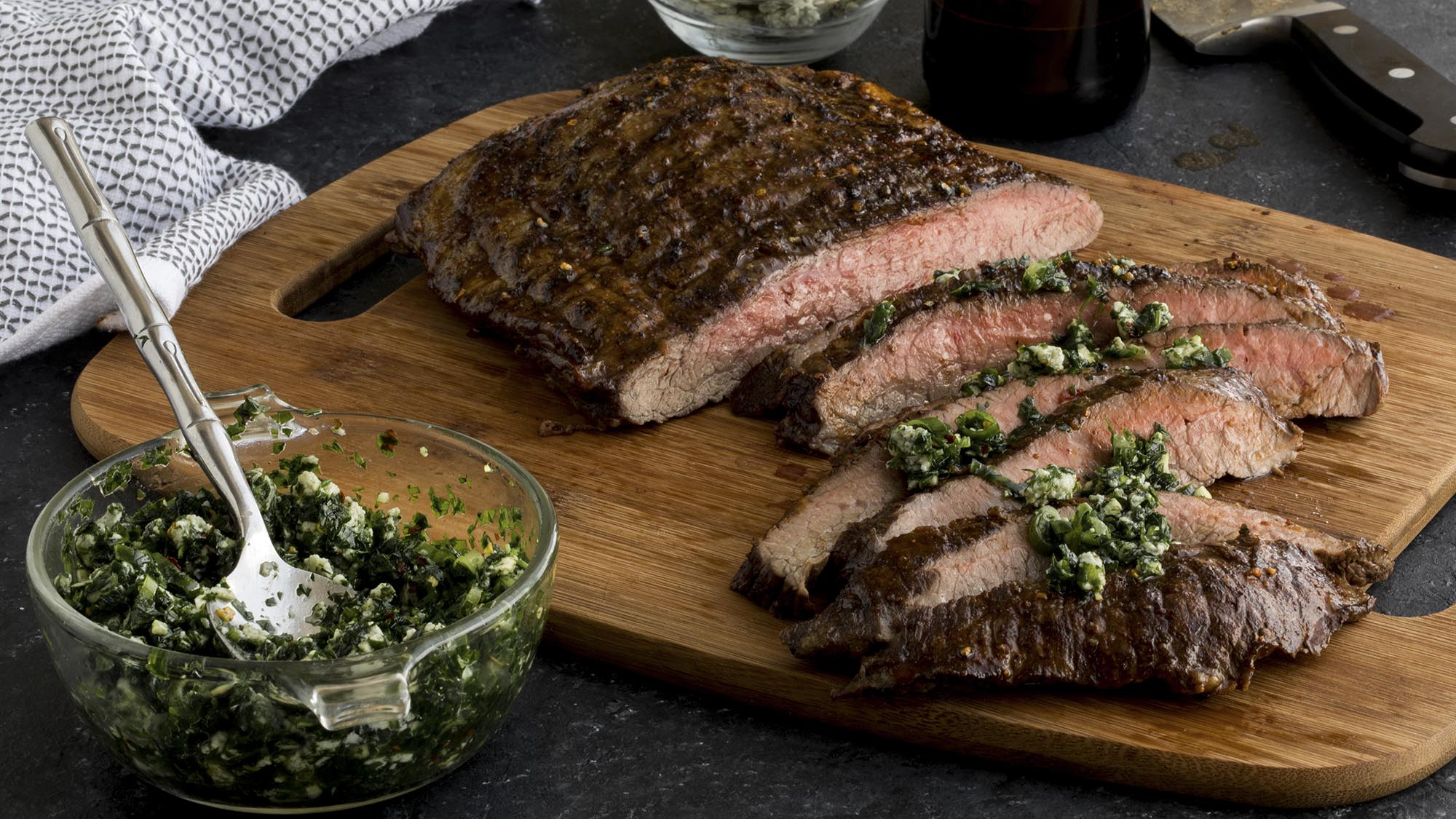 McCormick Grill Mates Beer Marinated Flank Steak with Blue CHeese Chimichurri