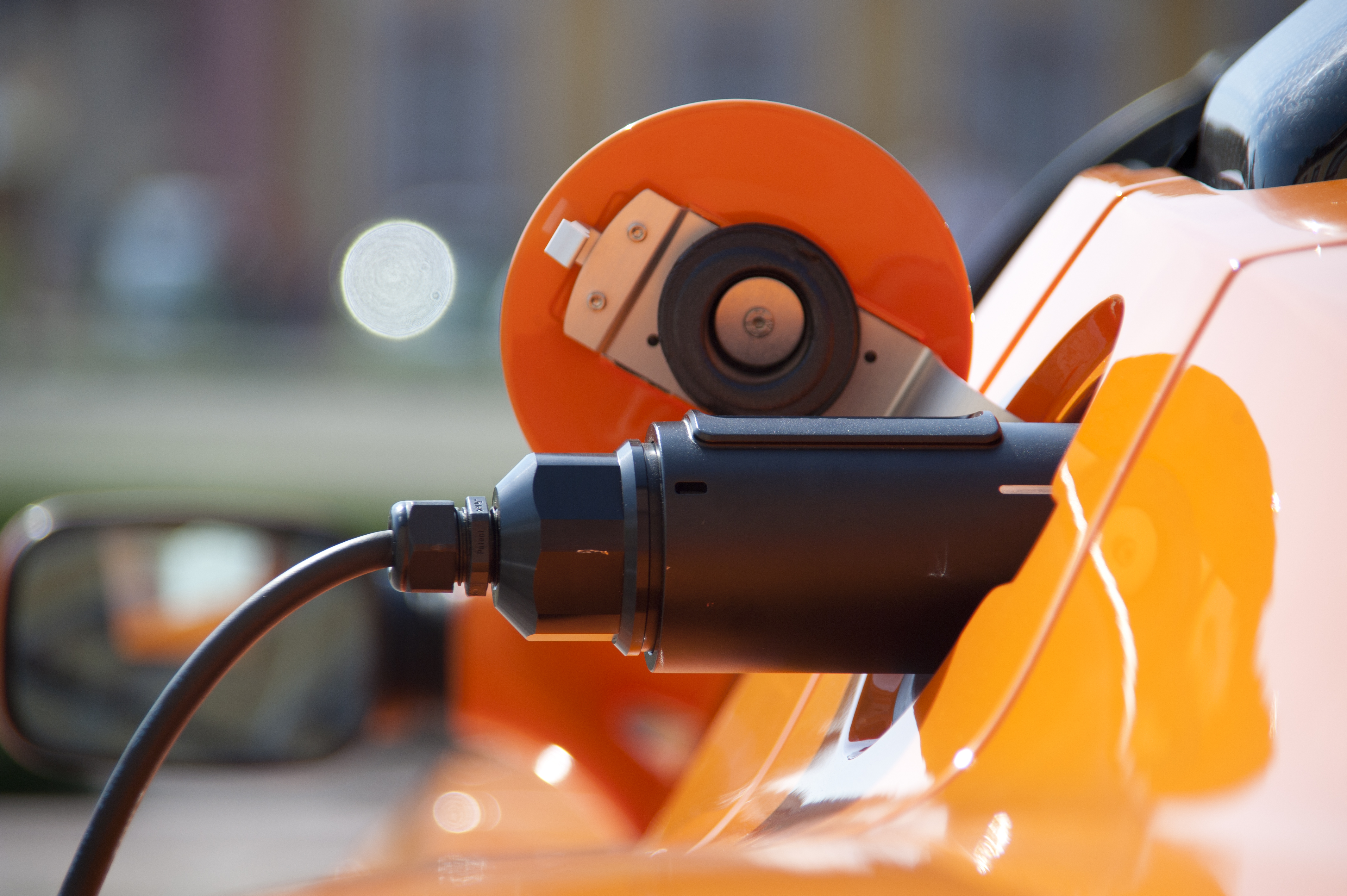 charge orange electric car