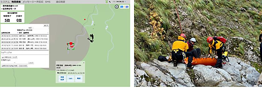 図 : 実証実験の模様 (左)ヘリコプター基地局から地上に電波を発信している様子を可視化したもの。電波発射による在圏情報を表示 (右)消防隊による救助訓練