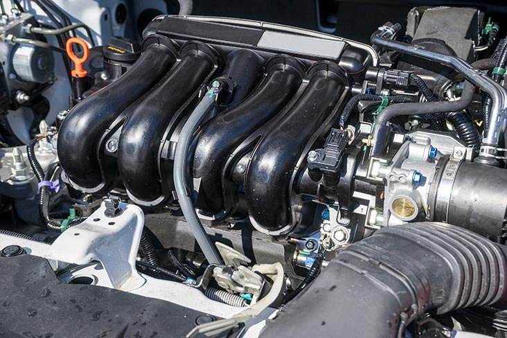 Car engine under the hood