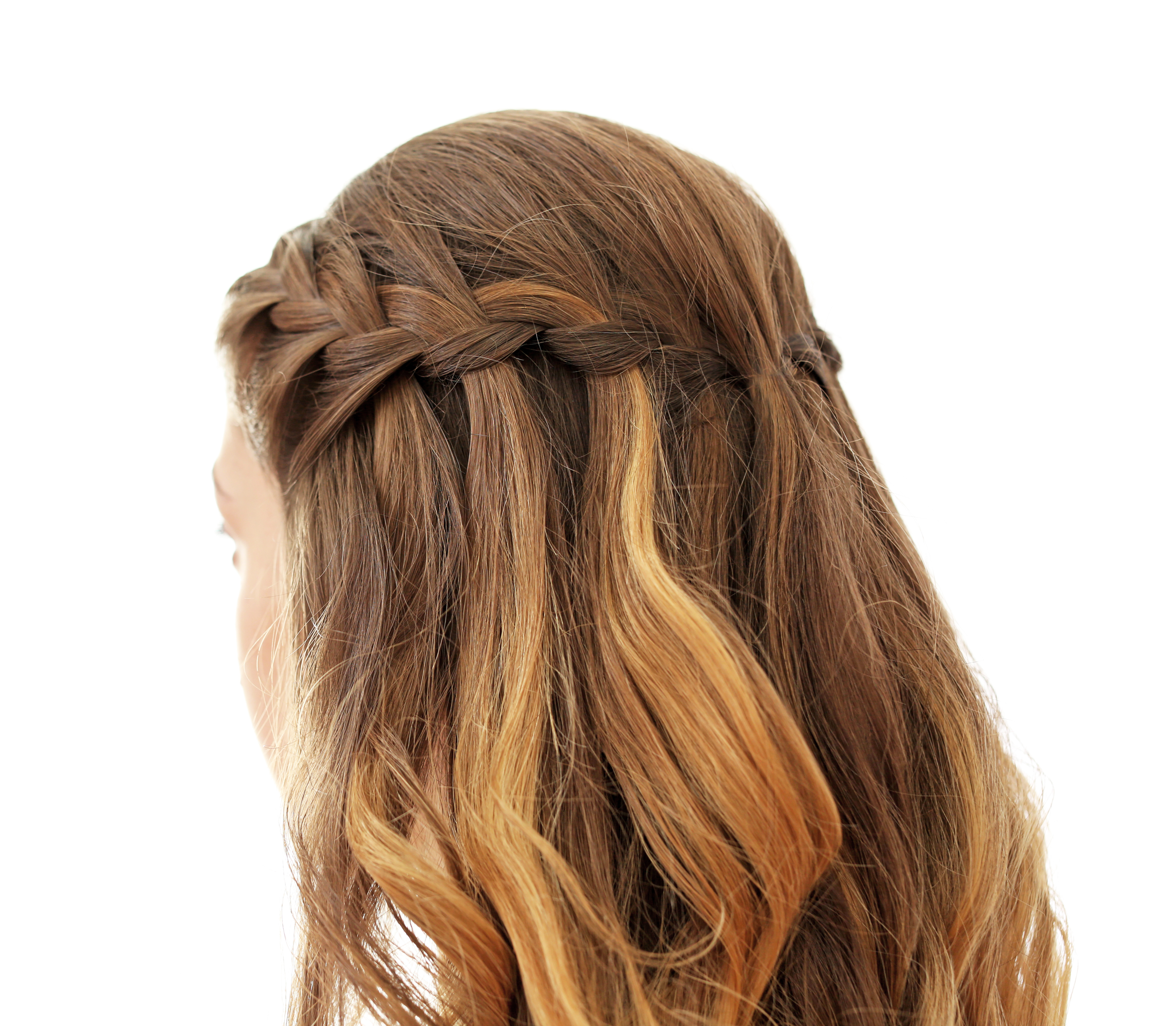 Young woman with beautiful hairstyle on white background