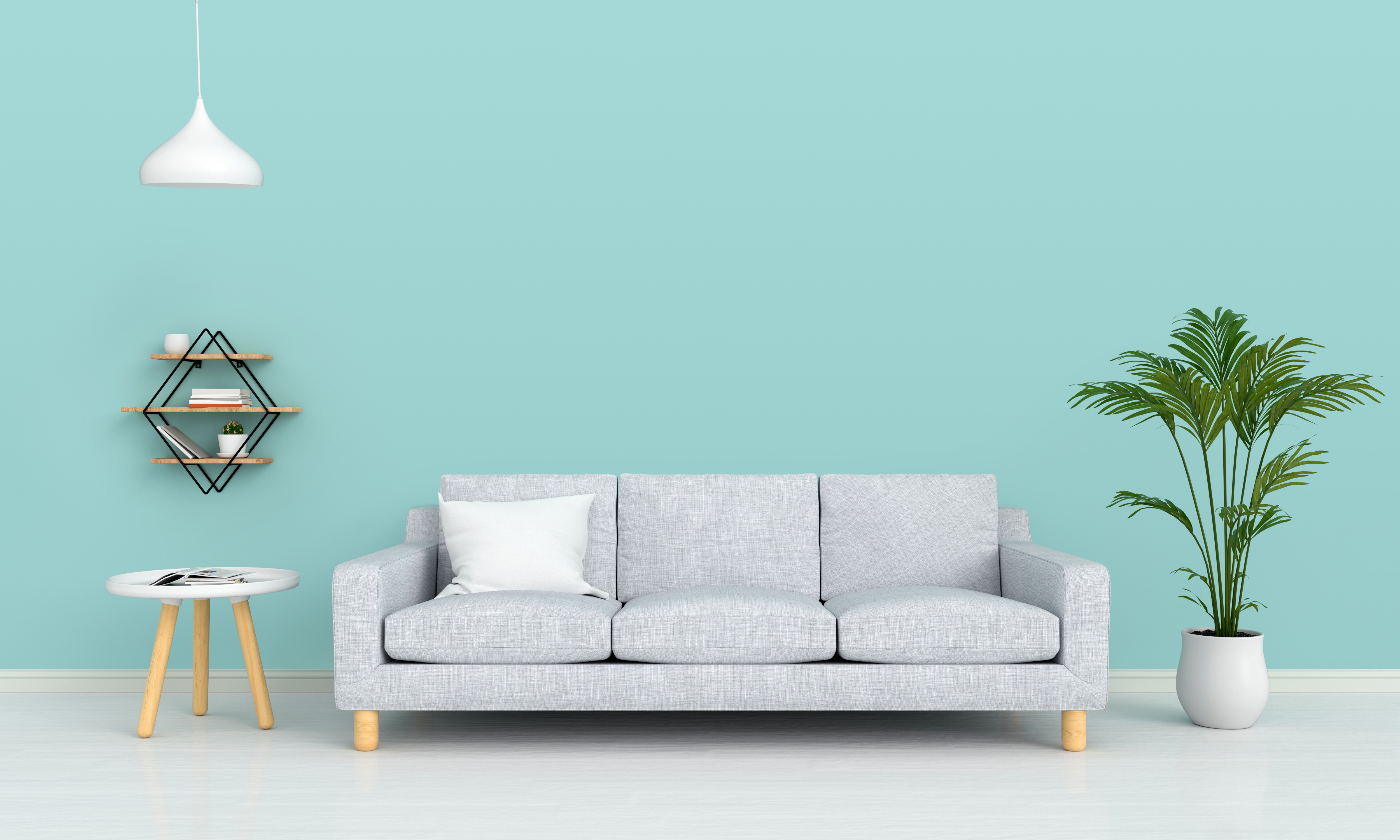 sofa and lamp in living room for mockup, 3D rendering