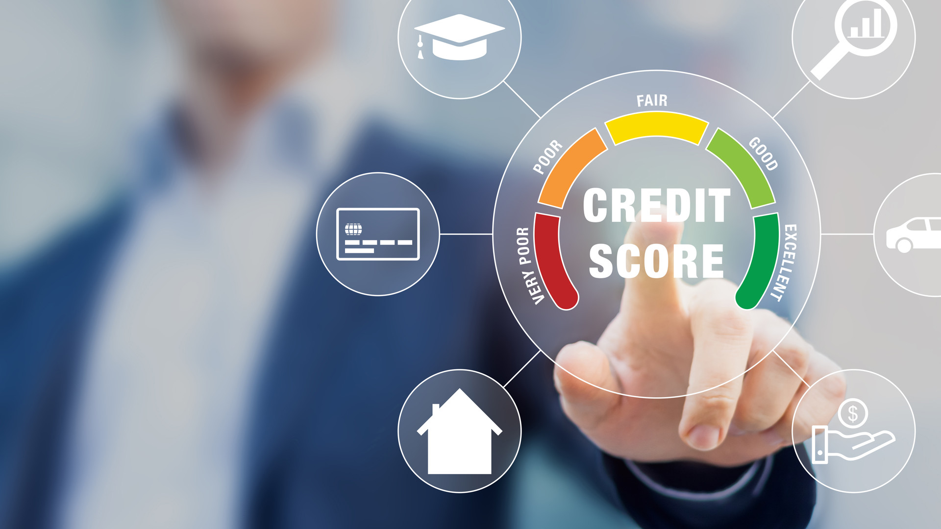 Credit Score rating based on debt reports showing creditworthiness or risk of individuals for student loan, mortgage and payment cards, concept with business person touching scorecard on screen