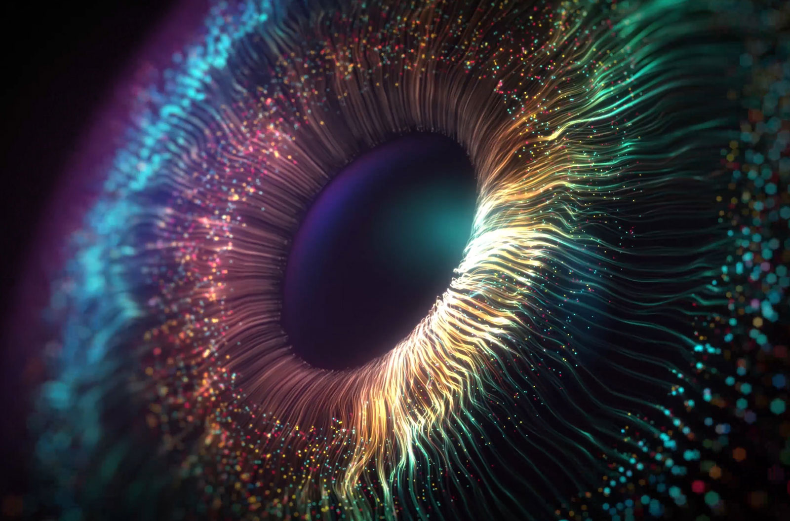Digital eye with colorful wave lines stock photo
