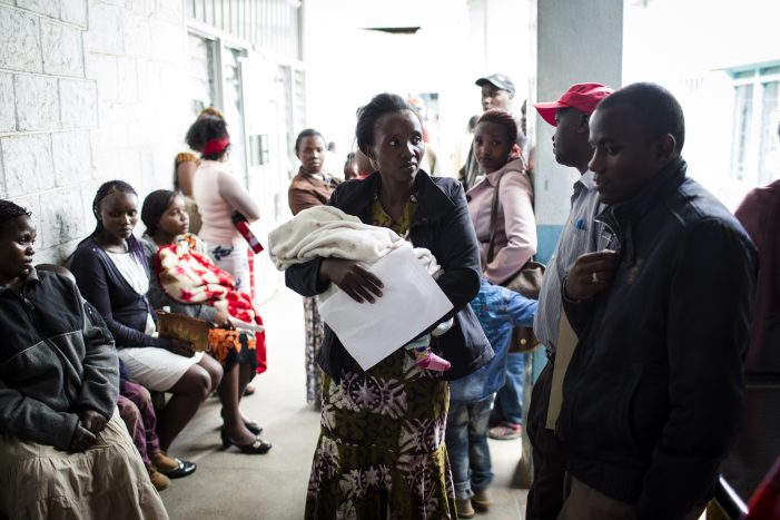 Patients wait to be treated at the Mgabathi Hospital in Nairobi, Kenya, June 15, 2016.