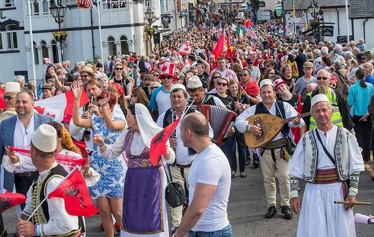 A parade at the Llangollen International Musical Eisteddfod