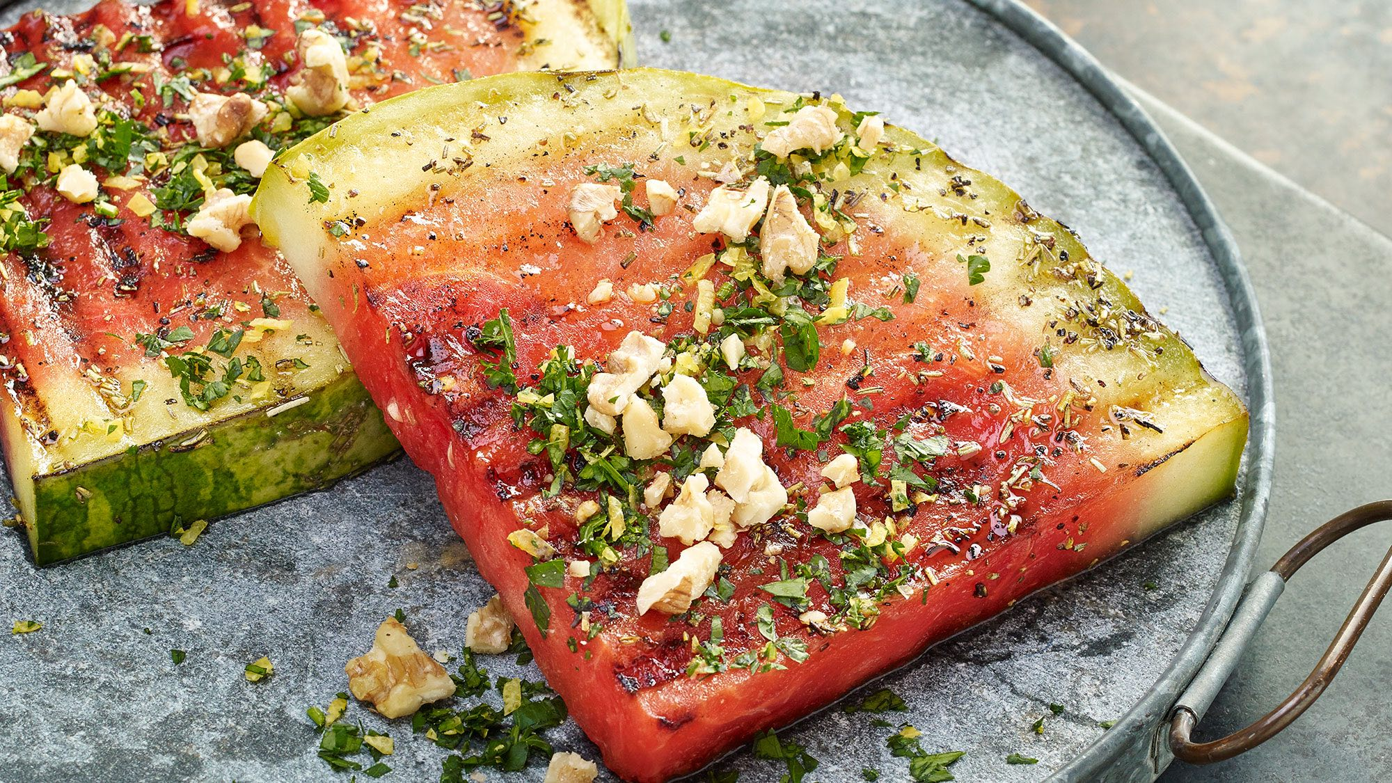 McCormick Grilled Watermelon Steaks with Walnut Gremolata