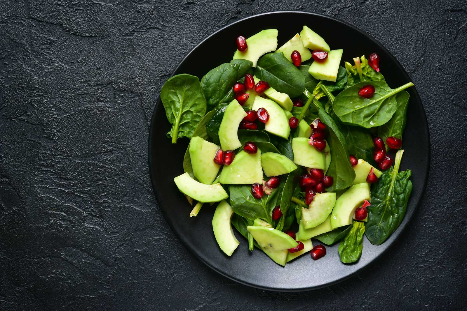 Pomegranate Seed Salad with Chopped Cucumbers and Spinach