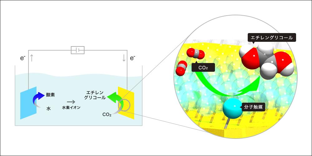 分子触媒による二酸化炭素の変換(左)と今回開発した分子触媒(右)