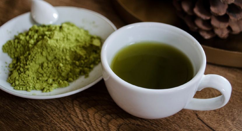 Matcha Green Tea Powder and Cup of Matcha Green Tea
