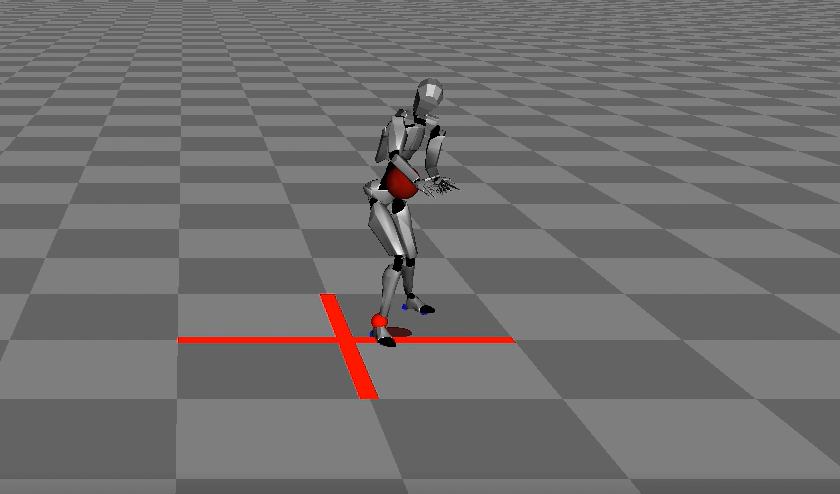 モーションキャプチャで測定した岡部選手の身体の動きをパソコン上で再現