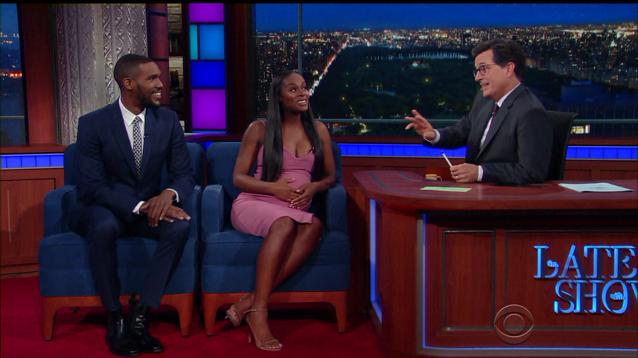 Tika Sumpter and Parker Sawyer during an appearance on CBS's 'The Late Show with Stephen Colbert.'