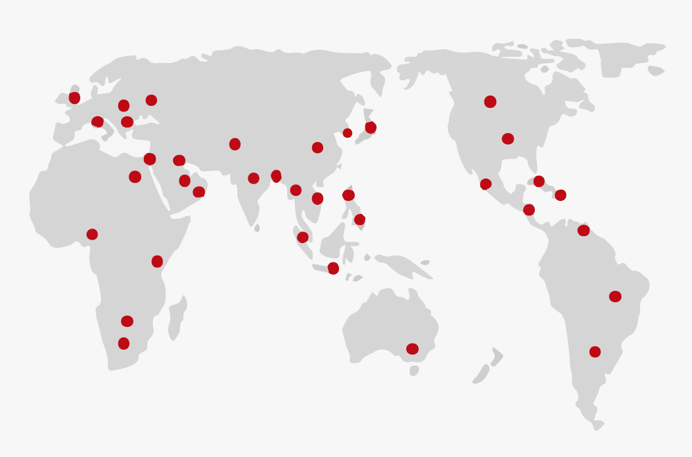 火力発電所の設置位置を示した世界地図