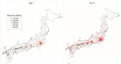 図 : 東京地区をロックダウンした場合に各地の企業活動がどのような影響を被るかについて、予備的なシミュレーション結果。左が1日目、右が14日目の様子(提供:兵庫県立大学 准教授 井上 寛康氏)