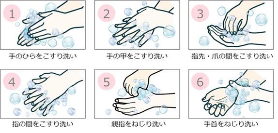 図 : 正しい手の洗い方6ステップ