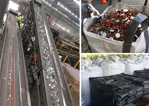 Photo : Photo: Pictures of eWaste being disassembled and shredded at processing centre