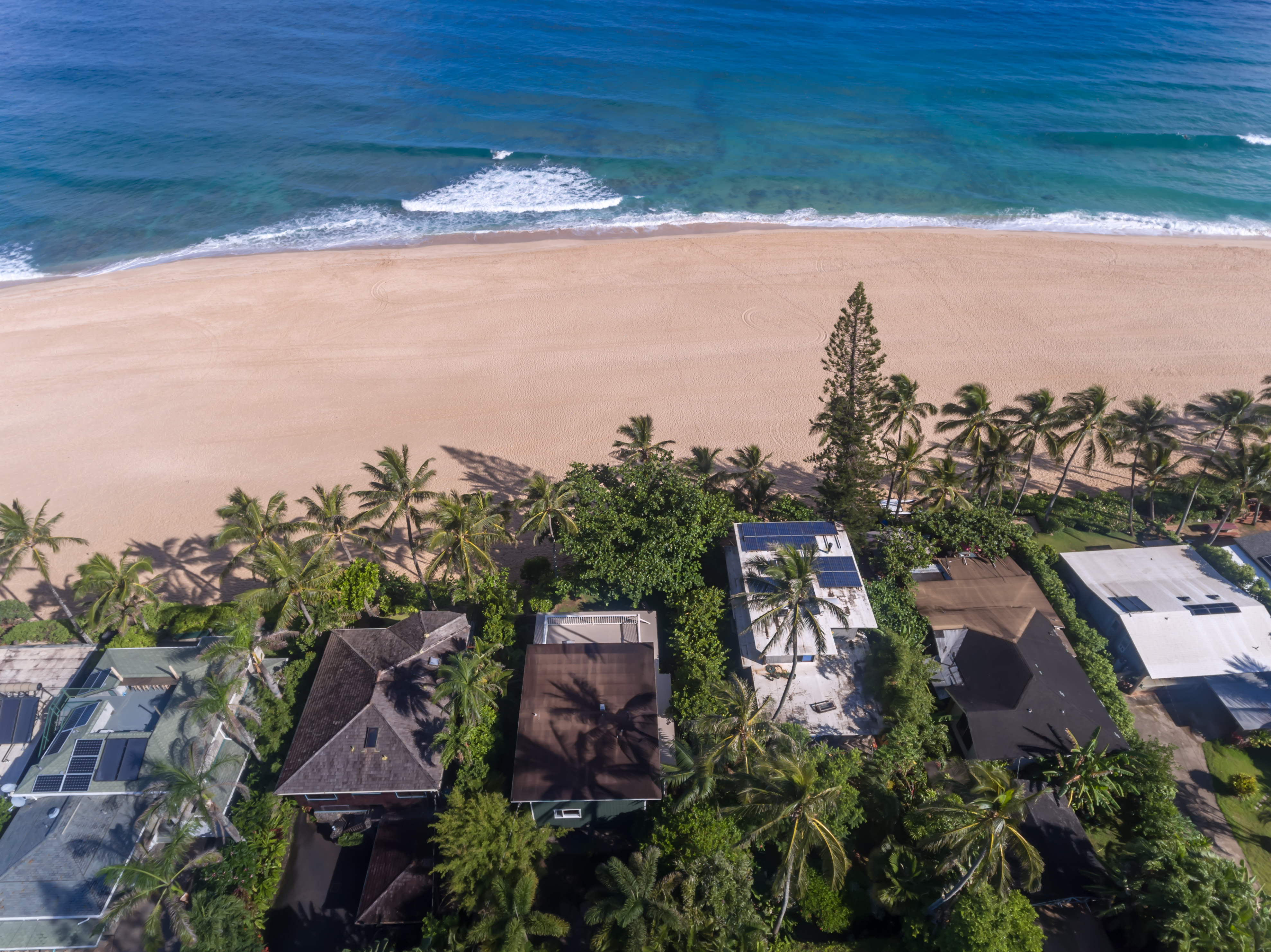 Aerial view of Ocean Front homes in Hawaii