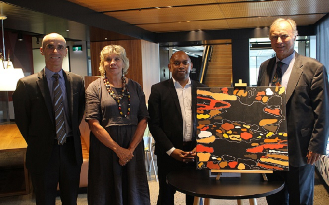 Photo : The launch of Fujitsu's 2018 Reflect RAP was celebrated in our Macquarie Park head office. Left to right: Fujitsu Oceania CEO Mike Foster, Aunty Julie Janson (Darug Elder), Supply Nation Deputy CEO Jason Timor, MP for Bennelong John Alexander OAM.
