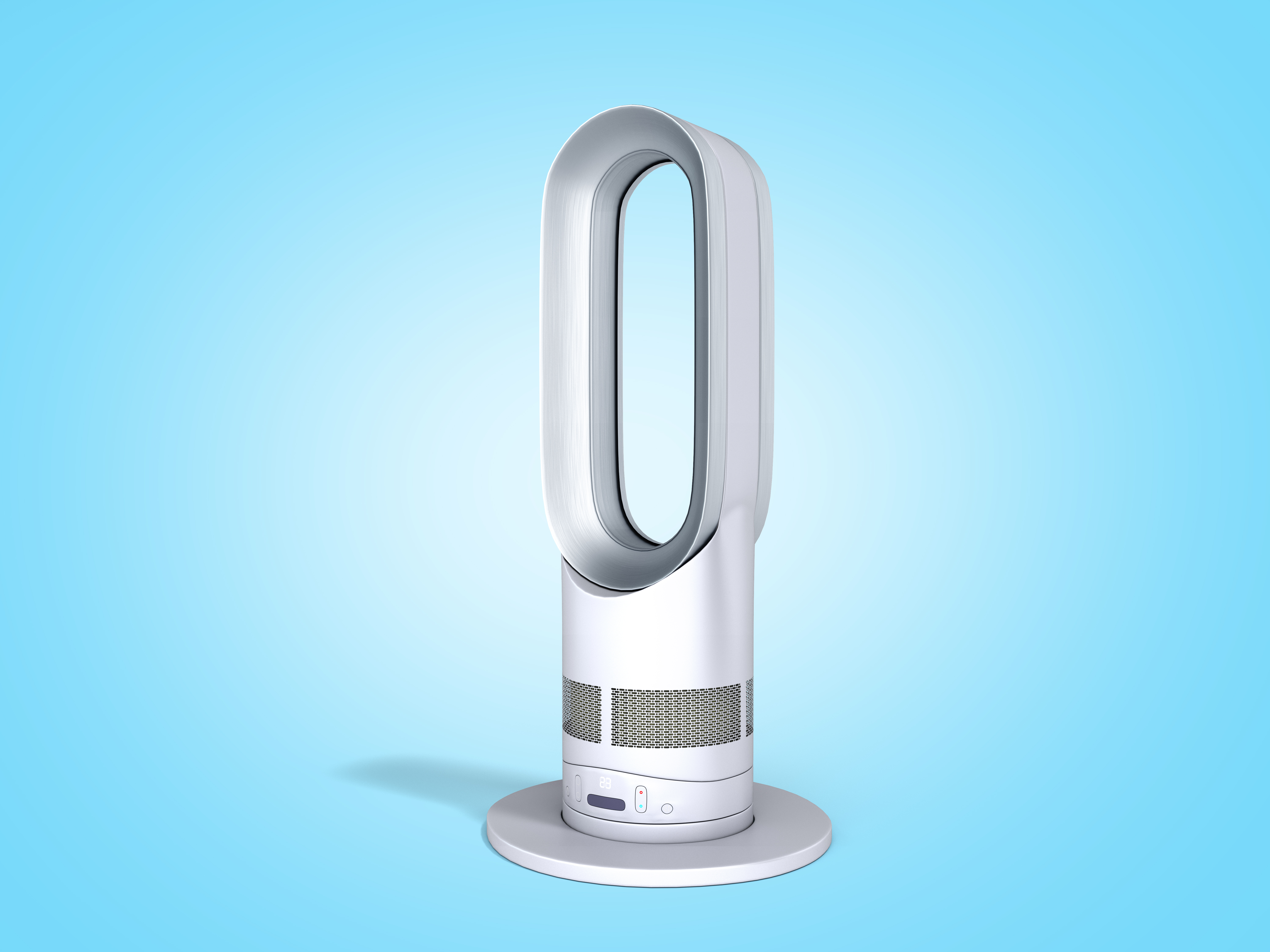 modern air purifier with heating and cooling function 3d render on blue gradient