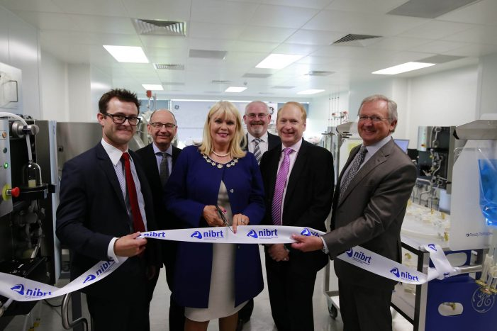 NIBRT and GE Healthcare to drive next-generation biomanufacturing competence with a new training center 1,500 biopharma professionals trained annually at NIBRT-GE Single-Use Centre of Excellence in Dublin BUSINESS - 8th June 2017 - Pictured with Mary Mitchell O'Connor, TD were David Radspinner, GE and Dominic Carolan, NIBRT. The National Institute for Bioprocessing Research and Training (NIBRT) and GE Healthcare have today opened a new training center, where up to 1,500 professionals are expected to receive training annually. The NIBRT-GE Single-Use Centre of Excellence features the latest technologies that will further boost biomanufacturing skills and expertise in Ireland, Europe and globally. Photograph Nick Bradshaw