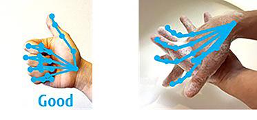 図 : 従来のハンドジェスチャ認識技術(左:ジェスチャの認識結果、右:手洗い動作に適用した結果)