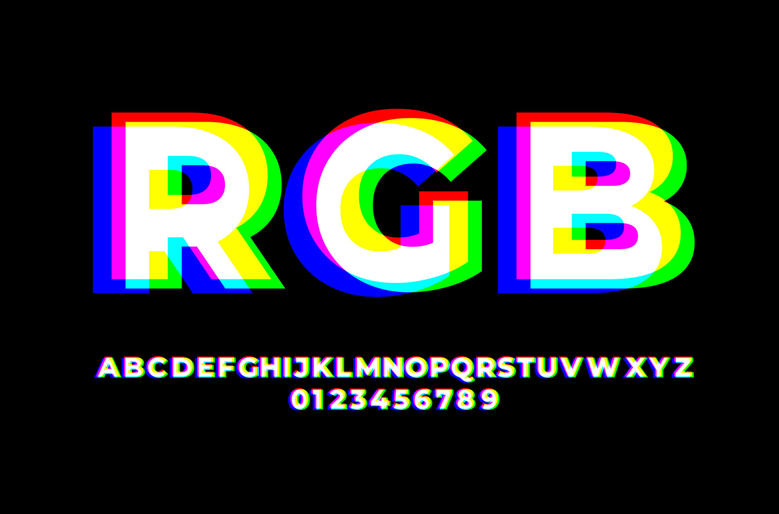 RGB font styles design templates stock illustration