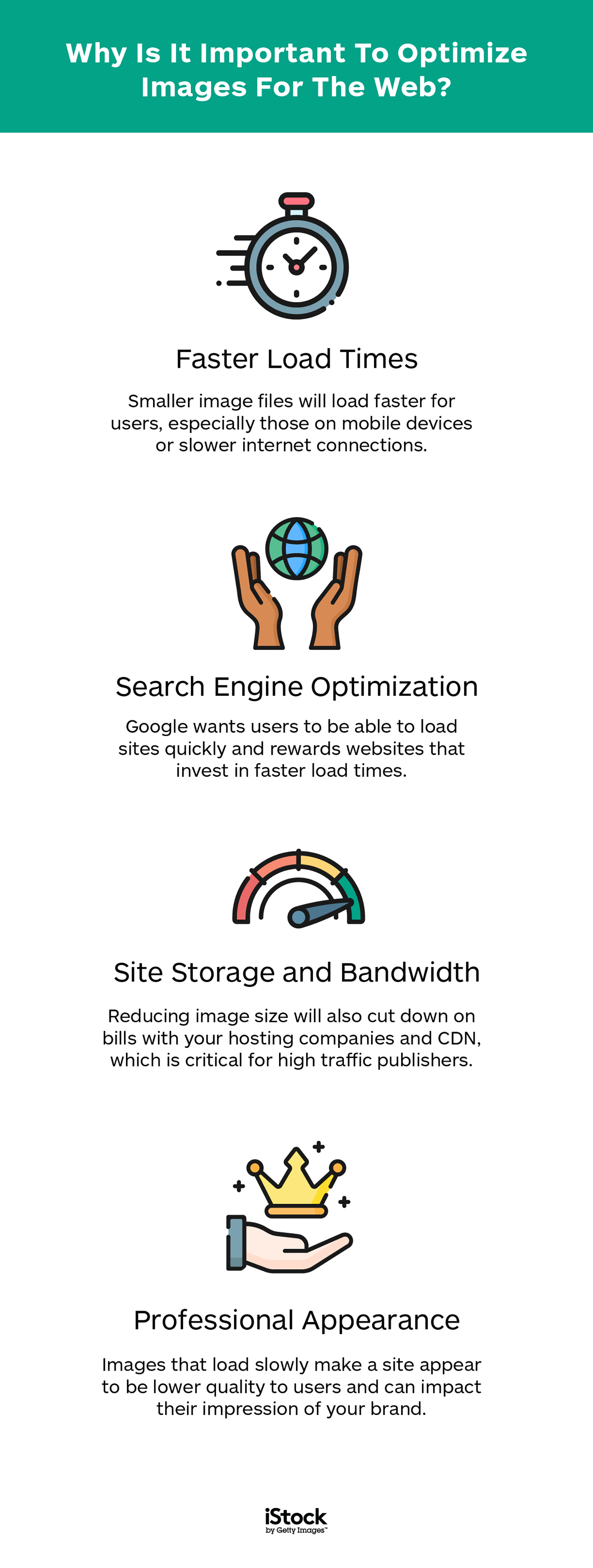 iStock tips on why it's important to optimize images for the web by following search engine optimization guidelines