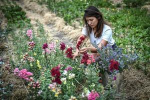 Franco-Japanese horticulturist Masami-Charlotte Lavault tends her flowers in Belleville Paris