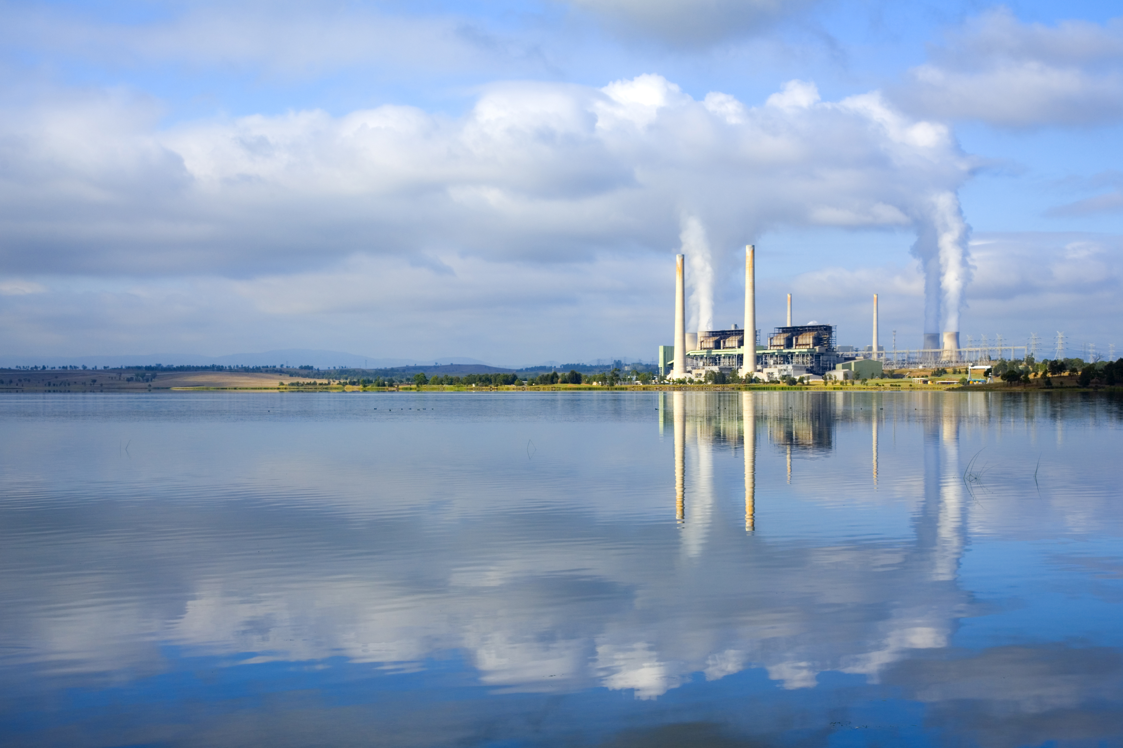 Power Station Coal Fired Australia Reflected in Lake
