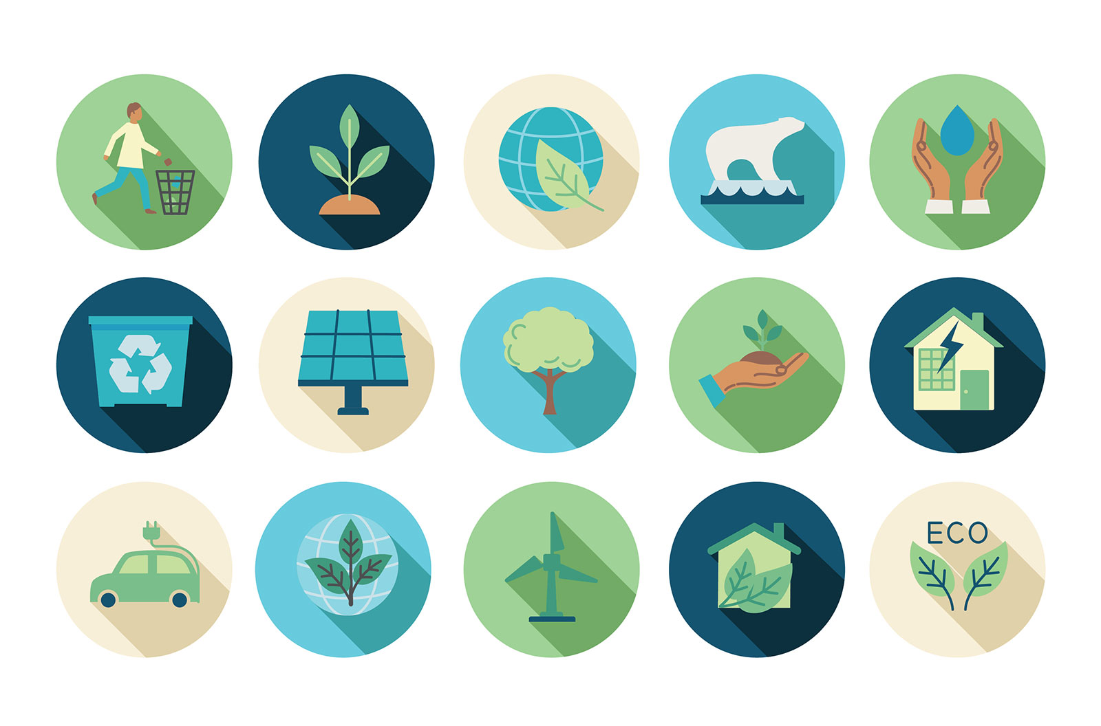 Environment flat design icon set stock illustration