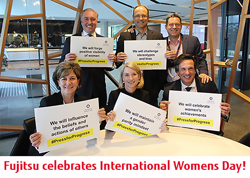 Photo : Pictured above: Members of the Fujitsu executive team pictured #PressingforProgress on International Womens Day at the Macquarie Park Head Office.