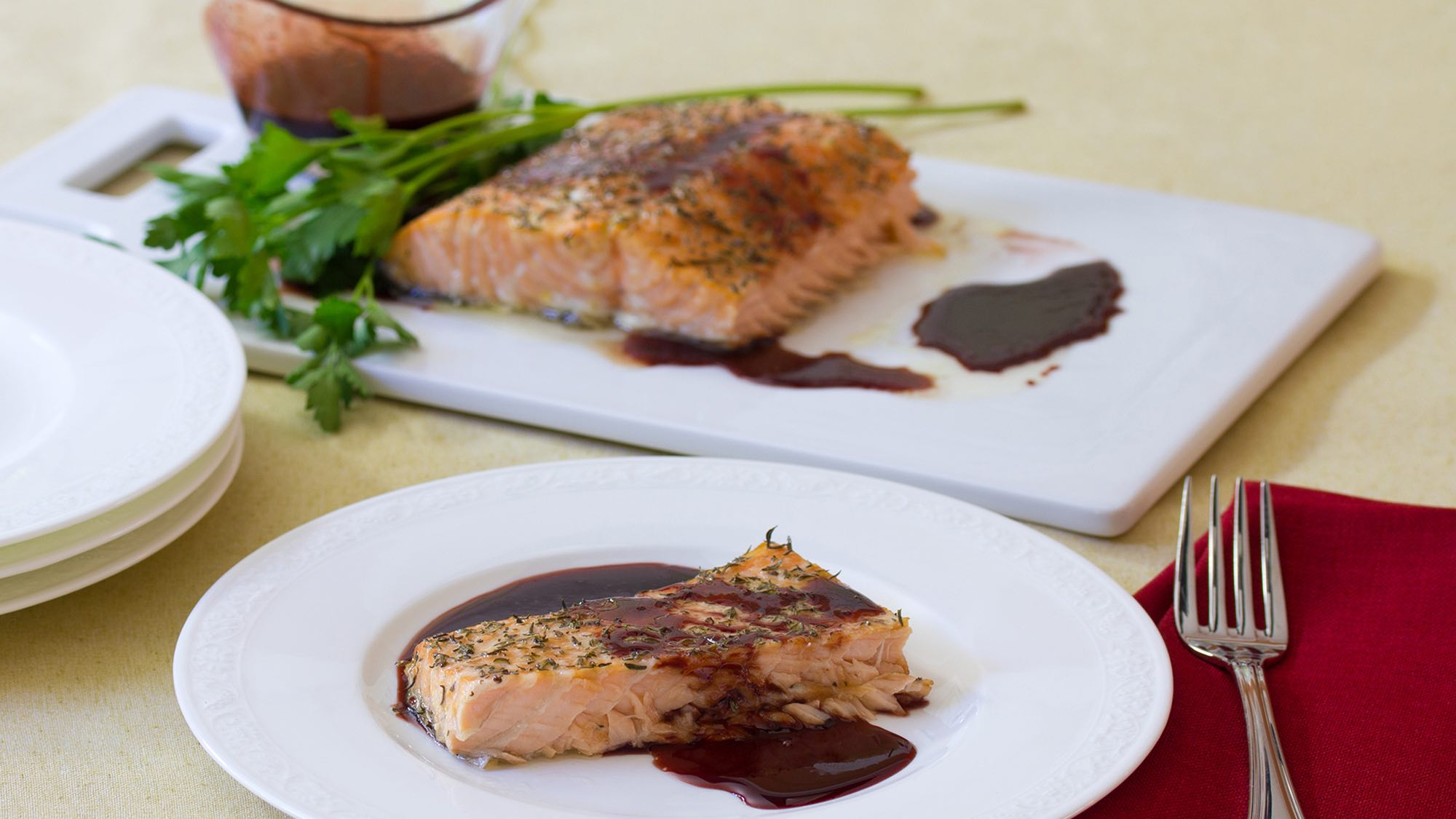 McCormick Oven Roasted Salmon with Pomegranate Ginger Sauce