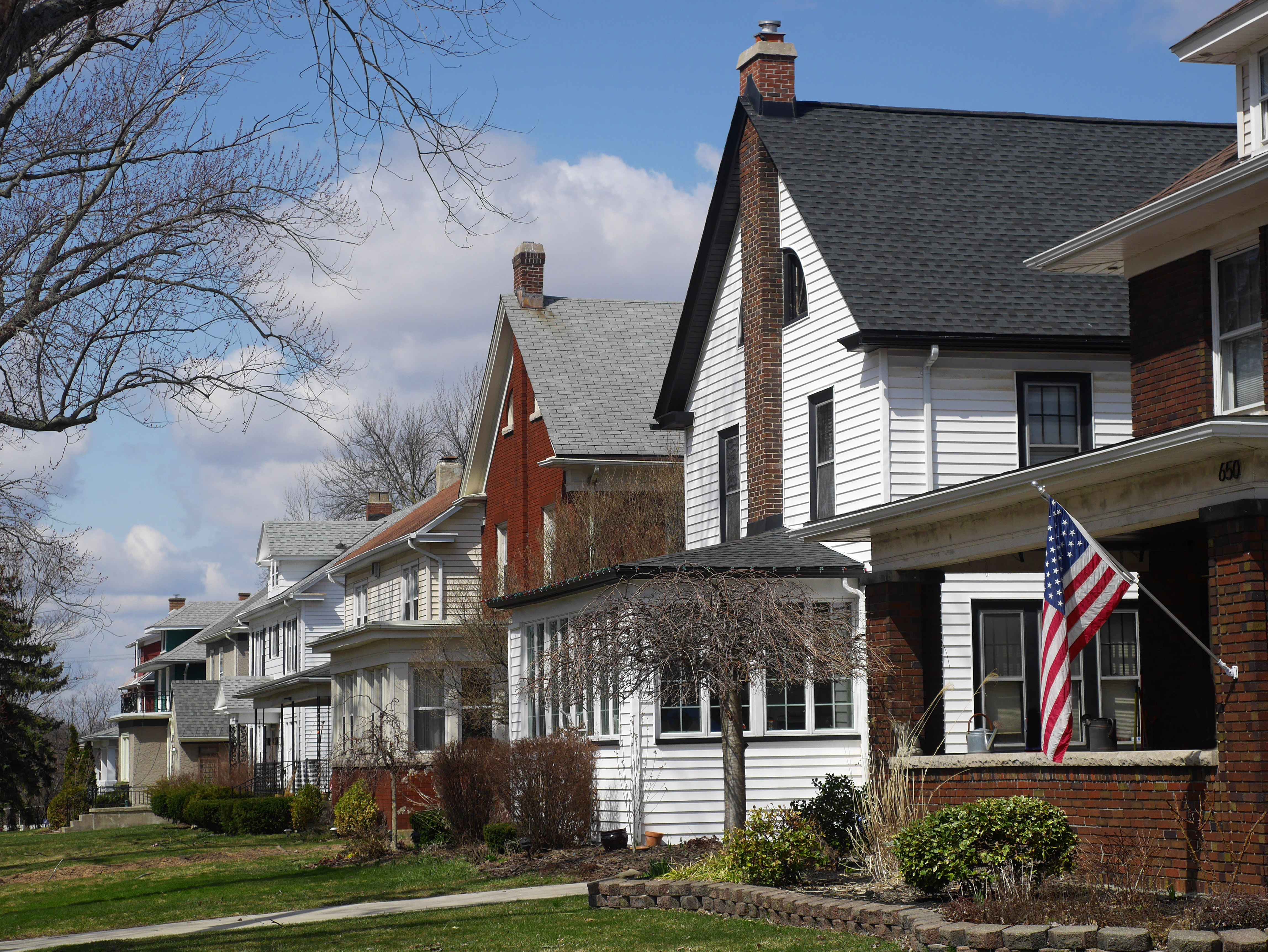 middle class houses on American suburban street