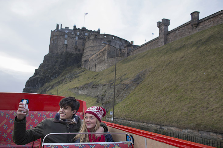 Tourists on Edinburgh tour bus