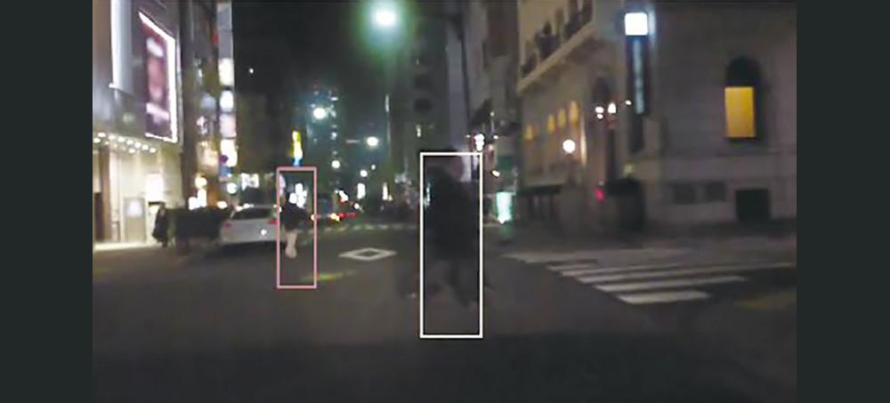 Visconti™4を用いた夜間の歩行者認識のイメージ