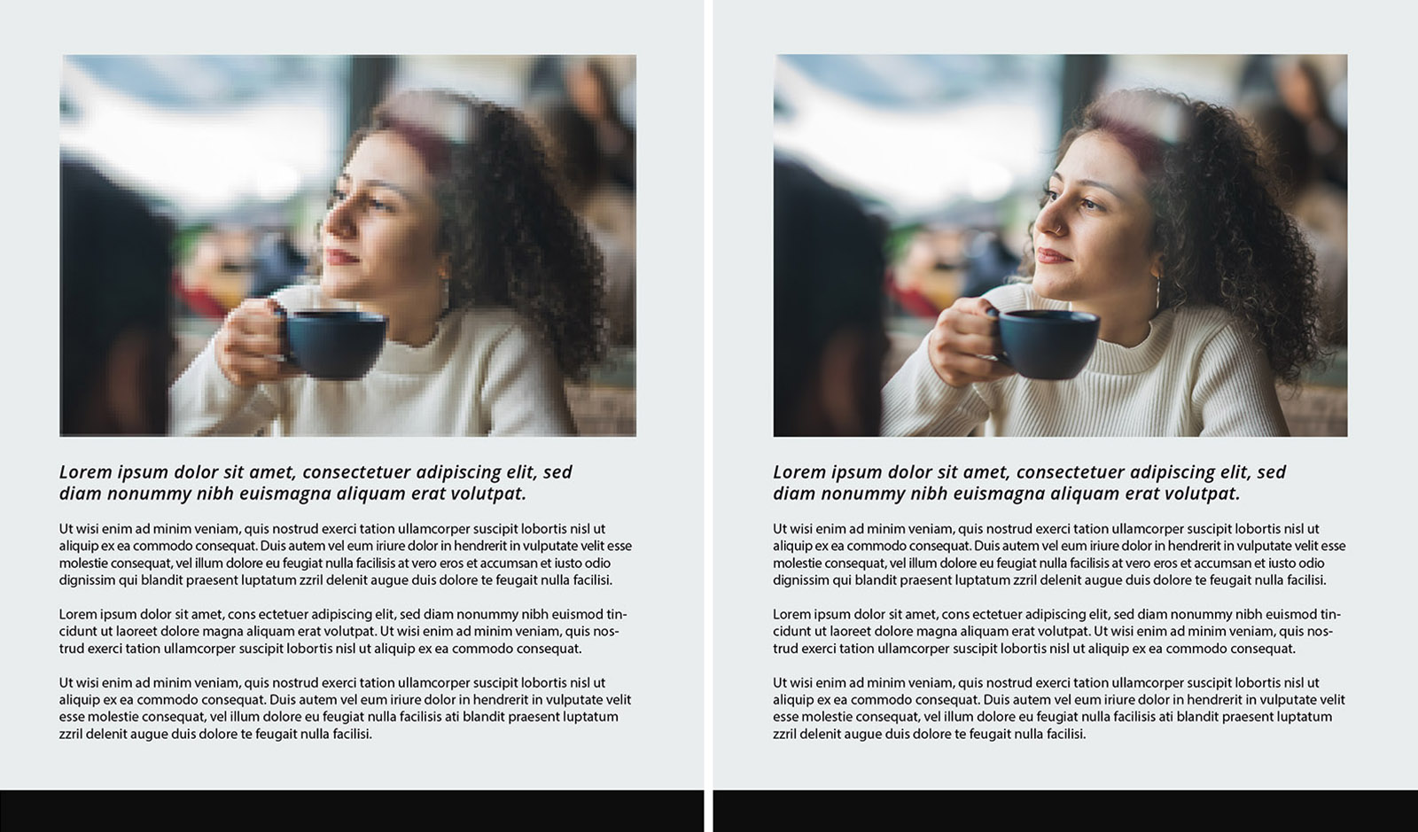 side by side comparisons of an image with a woman drinking coffee to illustrate the effects image size has when posting image to a website