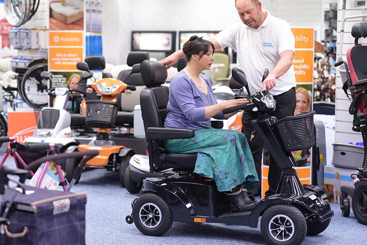 Motability Scheme customer using powered wheelchair