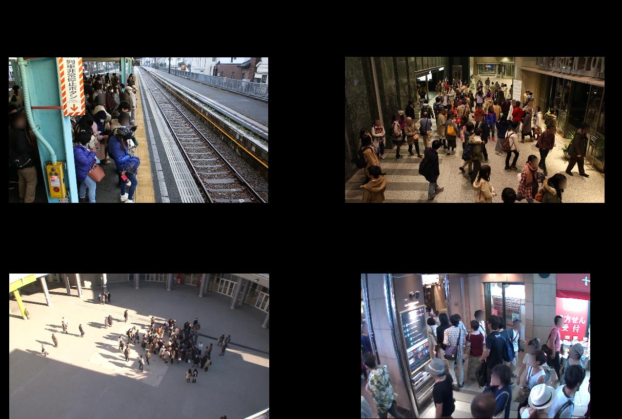 公共施設の混雑抑制など、活用が想定される様々なシーンのイメージ