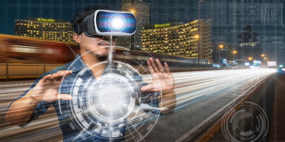 Double exposure of Asian man wearing virtual reality over the light of the cars on the express bridge with digital technology background, VR with business technology concept