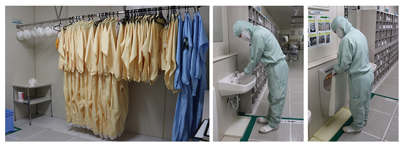 Put on dustproof coveralls in the changing room of the clean room—and don't forget to wash and dry your hands.